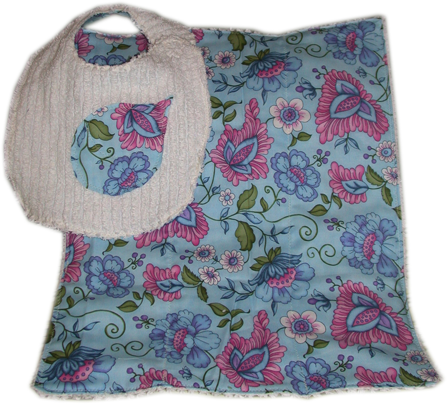 Set of Reversible Chenille Bib and Burp Cloth, Pink & Blue [TDBBS0013] - $15.00