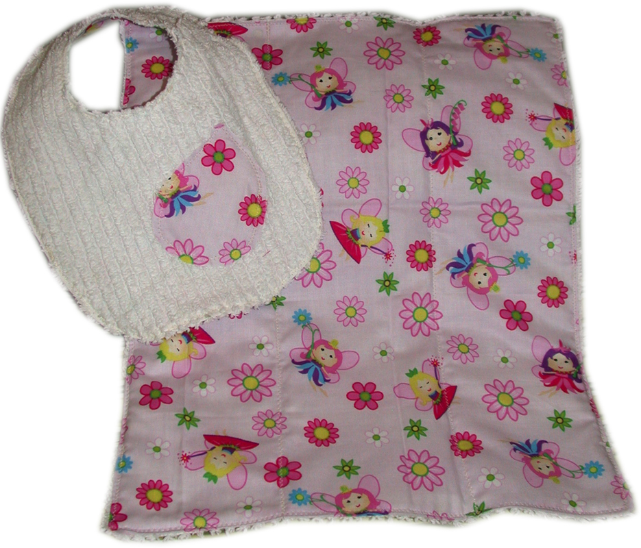 Set of Reversible Chenille Bib and Burp Cloth, Pink & Red [TDBBS0015] - $15.00