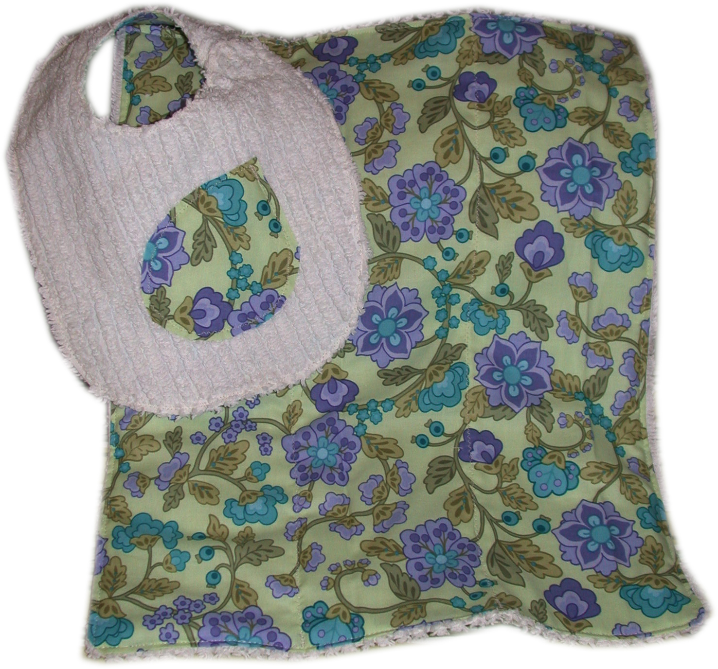 Set of Reversible Chenille Bib and Burp Cloth Green Violet TDBBS0016 15 00 Tiddle Diddle Handmade Shoppe every design is unique because unique is gift from tiddlediddle.com